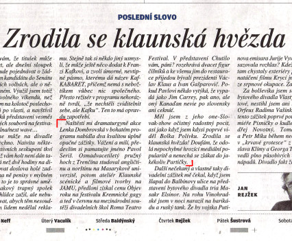 Článok Jana Rejžka, 9.10.2014, Lidové noviny